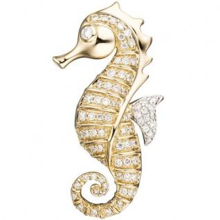 Anhänger Seepferdchen 585 Gelbgold 73 Diamanten Brillanten