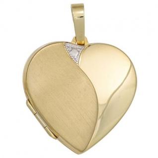 Medaillon Herz 585 Gelbgold mattiert Anhänger zum Öffnen für Fotos
