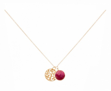 Halskette Anhänger LEBENSBAUM 925 Silber Vergoldet Rubin 45 cm