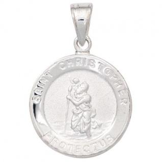 Kinder Anhänger Schutzpatron Christopherus 925 Silber mattiert