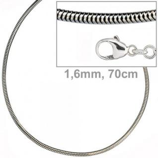 Schlangenkette 925 Silber 1, 6 mm 70 cm Halskette Silberkette Karabiner