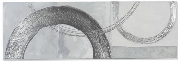 formano Wandbild aus Holz und Metall Halbkreise 30 x 90 cm