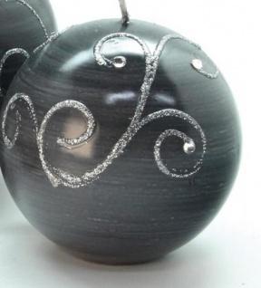 GILDE Kugelkerze mit Silberverzierung in Grau, 10 cm