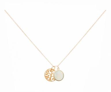 Halskette Anhänger LEBENSBAUM Silber Vergoldet Chalcedon Grün
