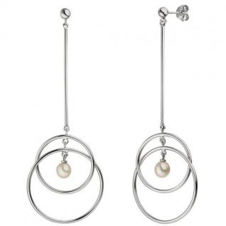 Ohrhänger 925 Sterling Silber 2 Süßwasser Perlen Ohrringe Ohrstecker