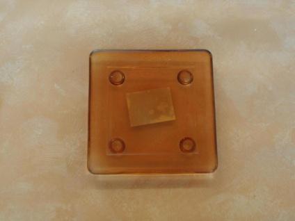 Kerzenteller eckig aus Glas in Orange