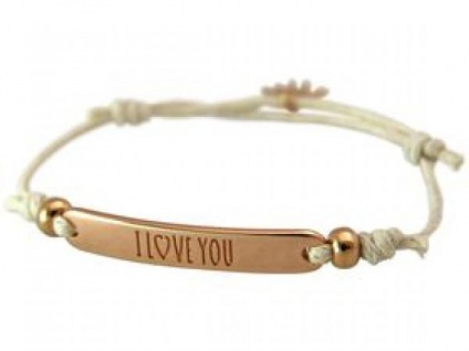 Gemshine Damen Armband Gravur I LOVE YOU Rose Vergoldet Nude