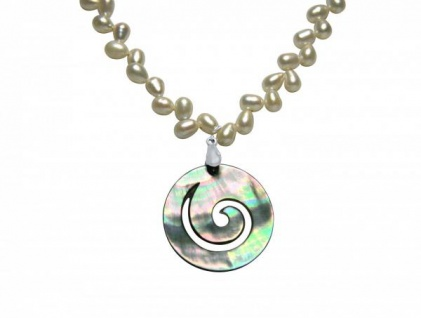 Halskette Medaillon Perlen Perlmutt 925 Silber Weiß