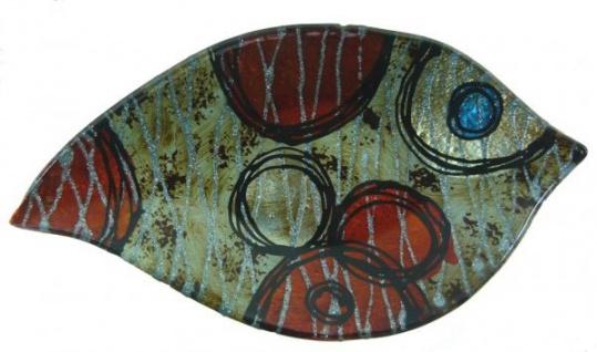 Trendiger Deko-Teller in Blattform Fantasy Blue Point, 23 x 13 cm