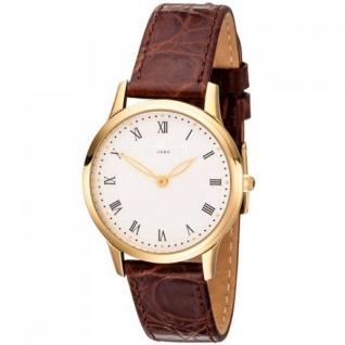 JOBO Damen Armbanduhr Quarz Analog Edelstahl vergoldet Lederband braun Damenuhr