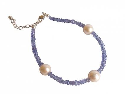 Tansanit und Zuchtperlen Armband, Silber