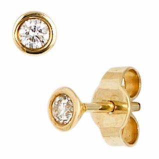 Ohrstecker rund 585 Gold Gelbgold 2 Diamanten Brillanten 0, 10 ct.