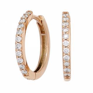 Creolen 585 Rotgold 22 Diamanten Brillanten Ohrringe Klappmechanik