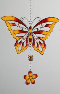 formano Hängedekoration Schmetterling aus Tiffany-Glas in orange