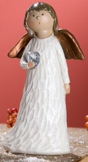 GILDE Dekofigur stehender Deko Engel Heidi mit Herz, Polyresin, 17 cm
