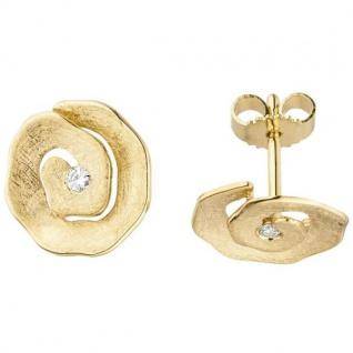 Ohrstecker 585 Gold Gelbgold eismatt 2 Diamanten Brillanten 11, 9 mm Ohrringe