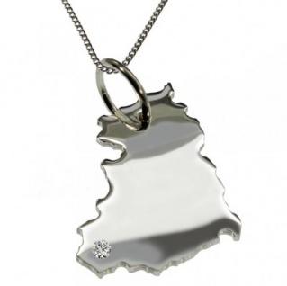 DDR Anhänger aus 925 Silber mit Brillant am Wunschort mit Halskette