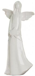 GILDE Engel mit Stern in Weiß aus Keramik, stehend, 23 cm