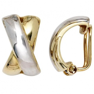 Ohrclips 333 Gold Gelbgold bicolor Ohrringe Clips