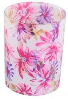 Windlicht-Glas dekorativer Teelichthalter rosa lila Blumen-Design 13 cm