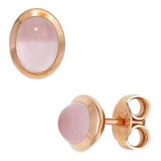 Ohrstecker 585 Rotgold 2 Rosenquarze rosa