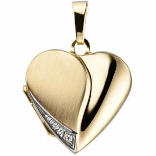 Medaillon Herz für 2 Fotos 333 Gelbgold mit Zirkonia zum Öffnen