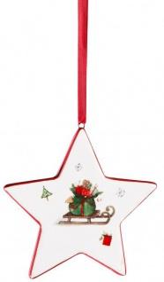 Christbaumschmuck Stern mit Schlitten Christbaum Anhänger weiß rot 6 cm