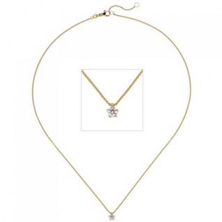 Collier Kette mit Anhänger 585 Gelbgold Diamant Brillant 0, 15 ct. 45 cm