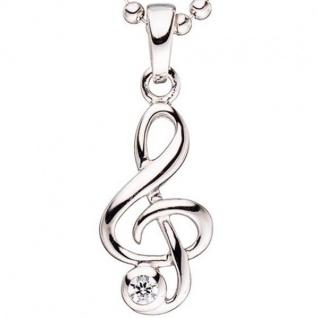 Kinder Anhänger Notenschlüssel Musik 925 Silber 1 Zirkonia