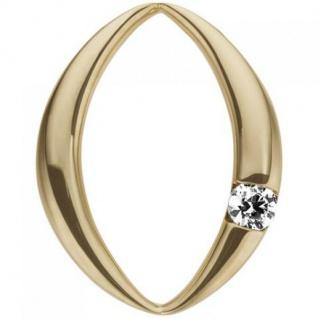 Anhänger oval 585 Gold Gelbgold 1 Diamant Brillant 0, 07ct.