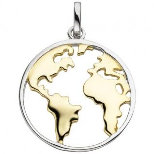 Anhänger Weltkarte 925 Sterling Silber bicolor vergoldet