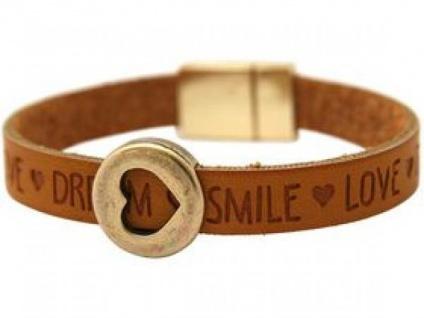 Damen Armband Herz Liebe WISHES Braun Magnetverschluss - Vorschau