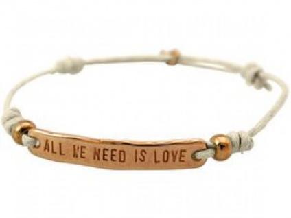 Damen Armband Gravur ALL WE NEED IS LOVE Rose Vergoldet Nude