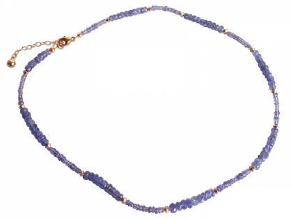 Gemshine Damen Halskette Vergoldet Tansanit Facettiert Blau Lila 45 cm