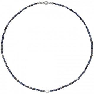 Halskette Kette mit Safir-Rondell und Hämatin 43 cm