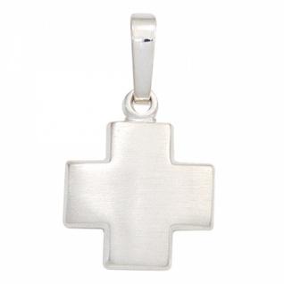 Anhänger Kreuz 925 Sterling Silber rhodiniert mattiert 13, 4 mm