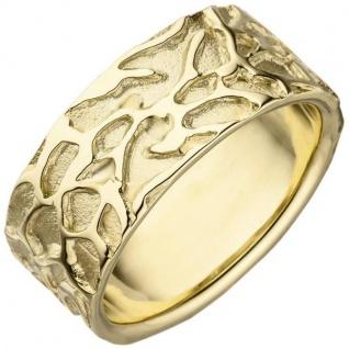Damen Ring breit 585 Gold Gelbgold teil matt Goldring