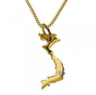 VIETNAM Kettenanhänger mit Brillant aus 585 Gelbgold mit Halskette
