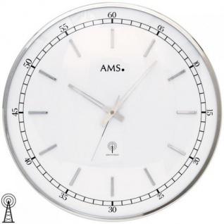 AMS 5608 Wanduhr Funk analog silbern rund