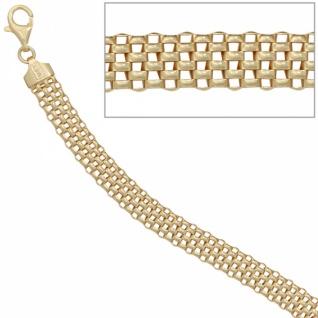Armband 925 Sterling Silber vergoldet 19 cm, 8 mm breit