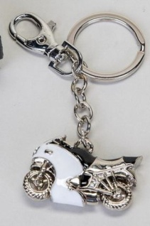 Schlüsselanhänger Motorrad, weiß, 6 cm