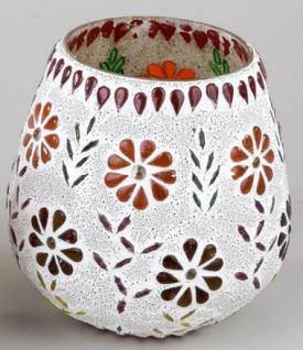 formano Windlicht Mosaik-Glas Multicolor Blume oval 14 cm