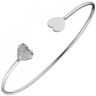 Armspange / offener Armreif Herz Herzen Edelstahl 6 Zirkonia Armband