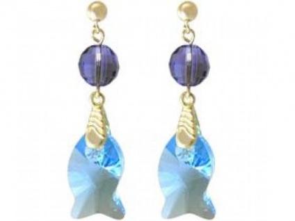 Ohrringe vergoldet Fisch Blau MADE WITH SWAROVSKI ELEMENTS®
