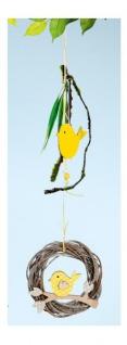 GILDE Dekokranz Weidenkranz aus Naturholz mit Vogel, 4, 5 x 15 x 58 cm