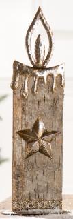 GILDE Teelichthalter aus Holz und Metall in Kerzenform, 37 cm