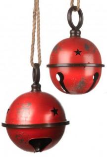 Weihnachtskugel groß Christbaumkugel Jingle Bell Metall antik-rot 19 cm