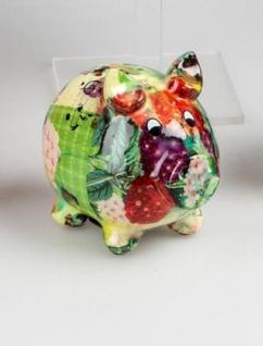 Spardose Sparschwein Flower Power in Bunt aus Keramik, 11 cm