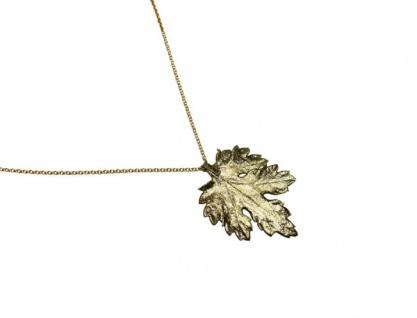 Halskette Anhänger Vergoldet Blatt Chrysanthem Natur 3, 5 cm