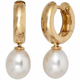 Creolen 585 Gold Gelbgold 2 Süßwasserperlen Perlen Ohrringe